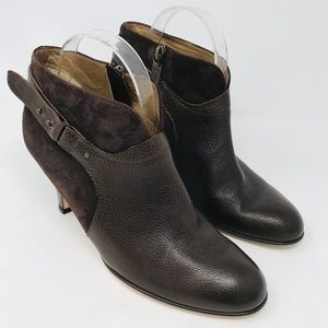 Anyi Lu Vanessa Brown Leather Suede Zipper Booties